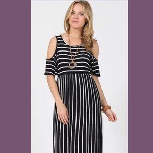 Dresses & Skirts - Cold-shoulder black and white striped maxi dress